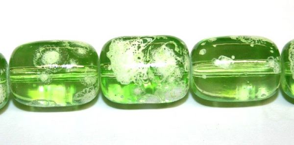 26pieces x 16mm*12mm Lime green colour oval shape bubble gum glass beads / speckled glass beads -- 3005156